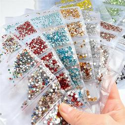1728pcs Nail Art Rhinestones Glitter Crystal Gems 3D Tips UV