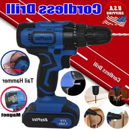 21V Cordless Combi Drill Nail Hammer Driver Set LED Screwdri