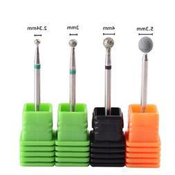 MZCMSL 4PCS Cuticle Clean Drill Bit Diamond Nail Ball Head S