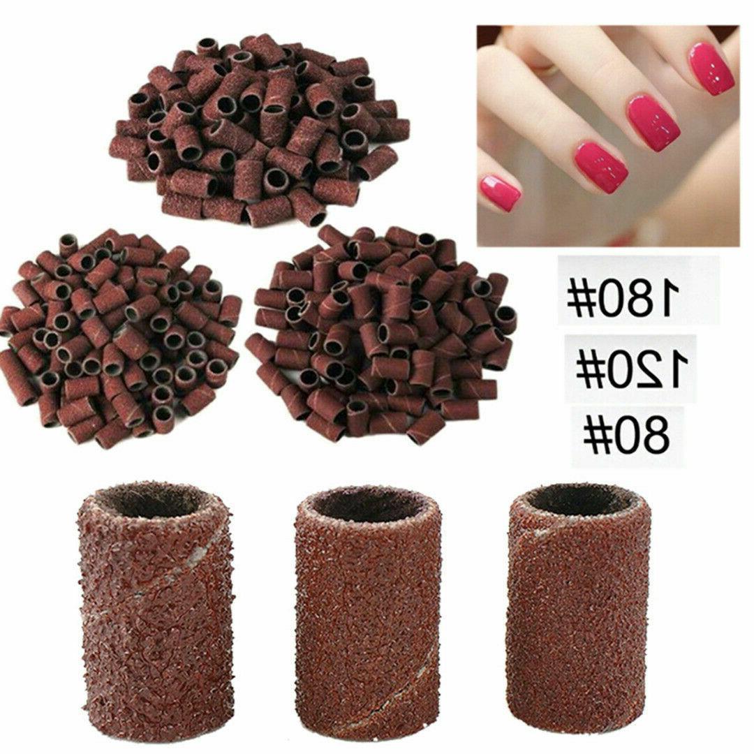 100pcs manicure pedicure sanding bands 80 120