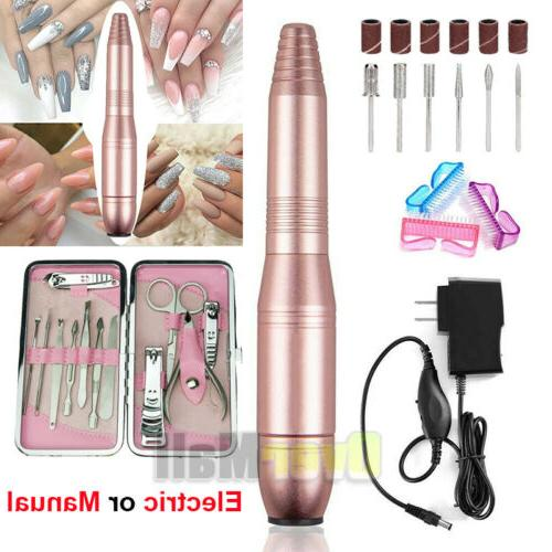 electric manual pro nail file drill kit