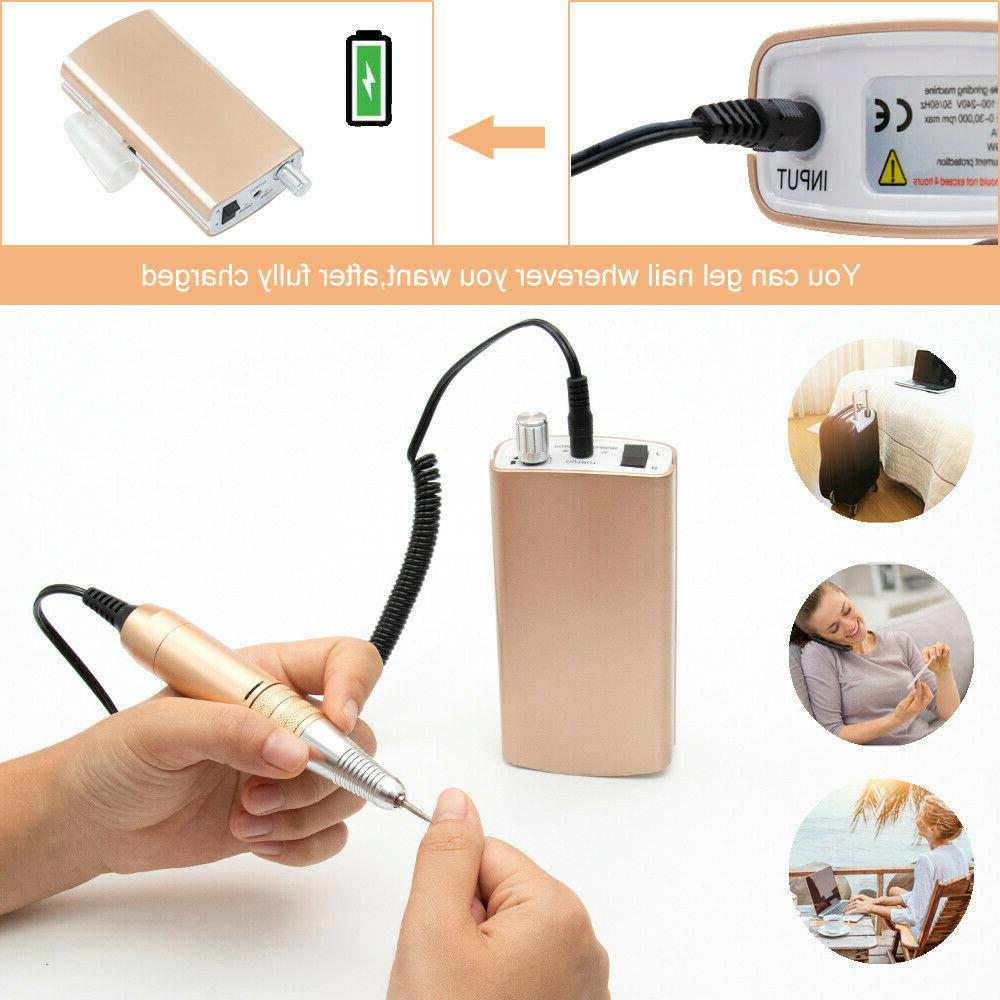 Portable Rechargeable Electric Drill Machine 30000RPM Manicure Kit