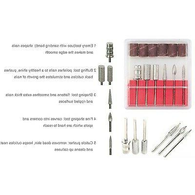 Professional Electric Acrylic Drill Machine Kit With Bits Manicure USA