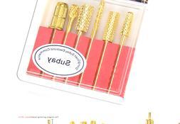 Nail Drill Bits Set 3/32 Inch Gold Carbide Nail Art Bit Tool