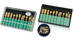 Nail Drill Bits Set 3/32 Inch Gold Carbide Art Bit Tools wit